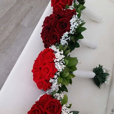 red rose and white lily Flower bouquet